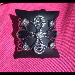 Hammered silver w/ rhinestones bracelet